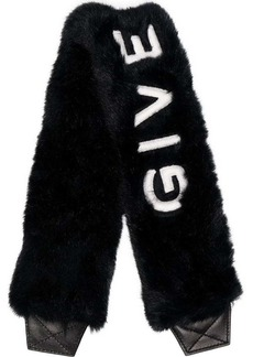 Givenchy black logo embroidered faux fur bag strap
