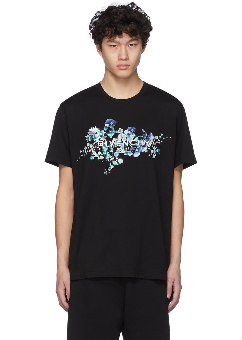 Givenchy Black Logo Flowers T-Shirt