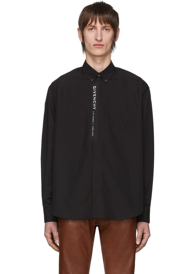 Givenchy Black Poplin Logo Shirt