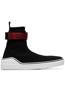 Givenchy black, red and white 4G webbing knitted sneakers