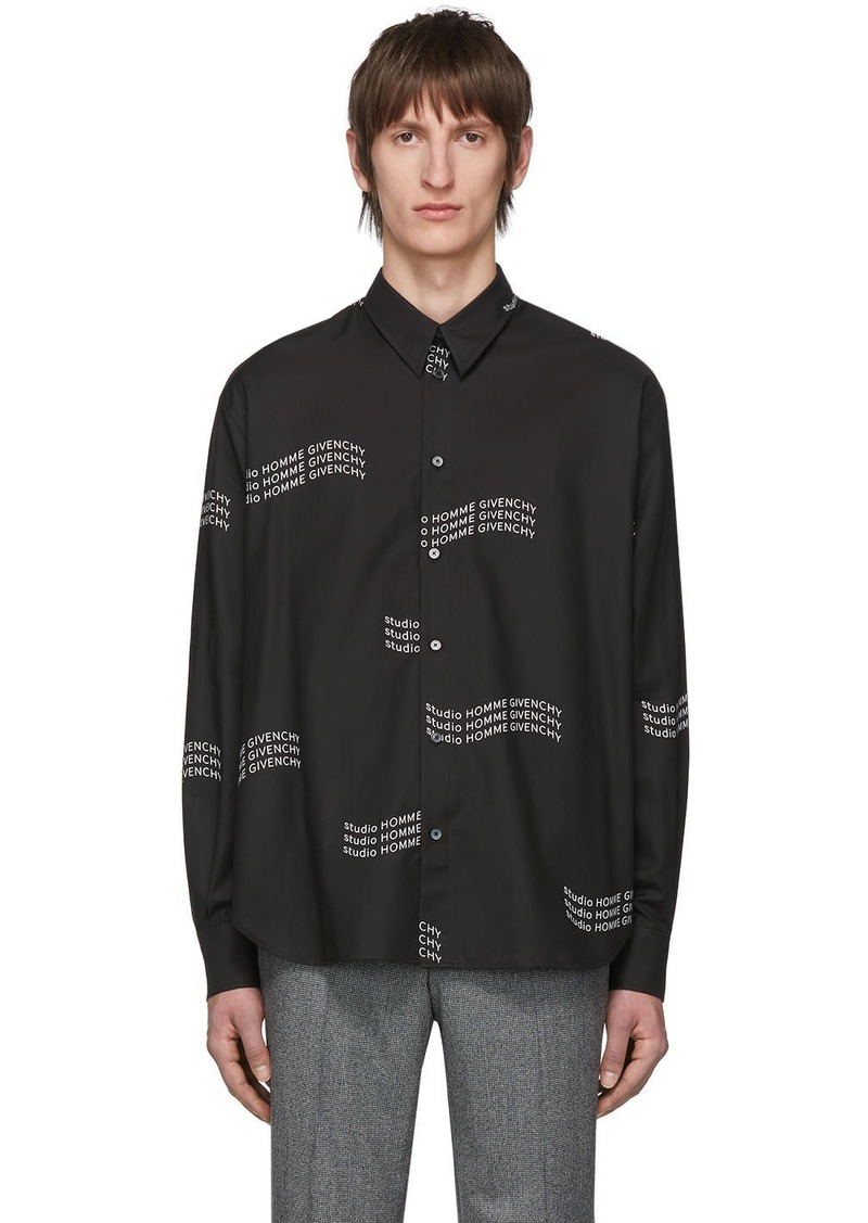 Givenchy Black Twill Printed Shirt