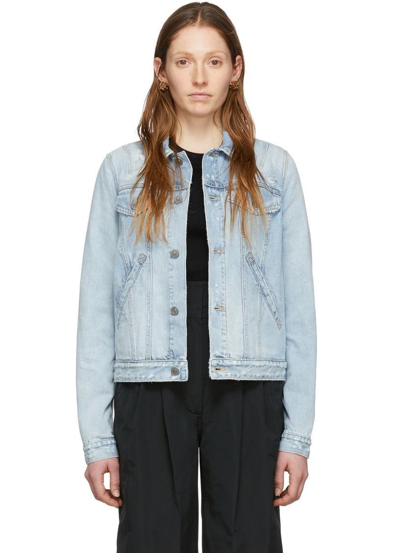 Givenchy Blue Denim Stamped Logo Regular-Fit Jacket