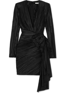 Givenchy Bow-embellished Plissé-satin Mini Dress