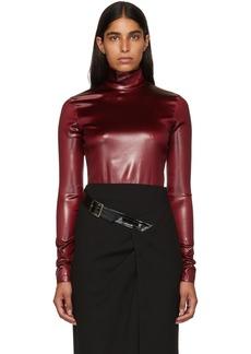 Givenchy Burgundy Faux-Leather Turtleneck Bodysuit