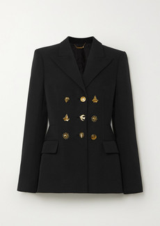 Givenchy Button-embellished Double-breasted Grain De Poudre Wool Blazer