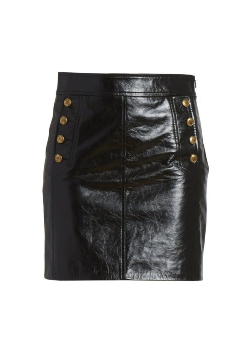 Givenchy Button-Embellished Leather Mini Skirt