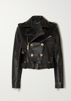 Givenchy Button-embellished Textured-leather Biker Jacket