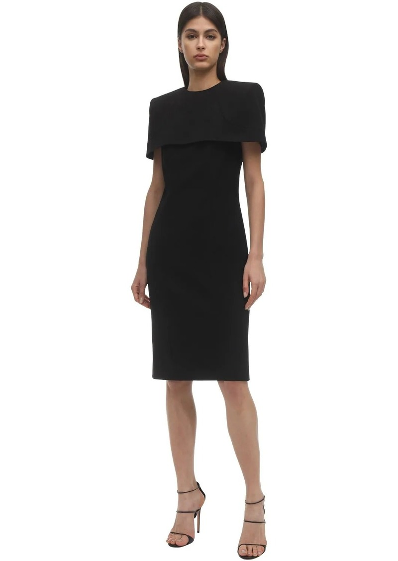 Givenchy Caped Soft Crepe Wool Midi Dress