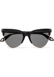 Cat-eye acetate and rose gold-tone sunglasses
