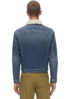 Givenchy Cotton Denim Jacket W/ Faux Shearling