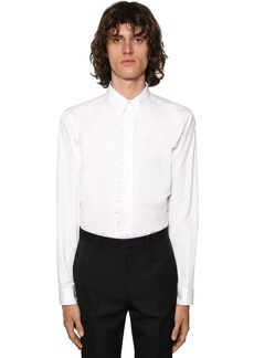 Givenchy Cotton Shirt W/split Embroidered Logo