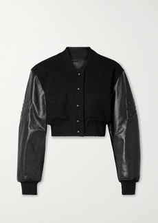 Givenchy Cropped Embroidered Wool-blend Fleece And Leather Bomber Jacket