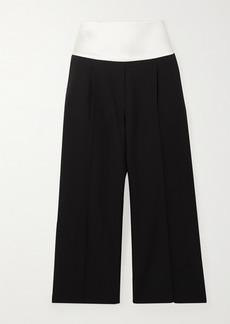Givenchy Cropped Satin-trimmed Grain De Poudre Wool Pants