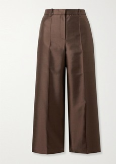 Givenchy Cropped Wool And Silk-blend Satin Straight-leg Pants