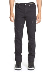 Givenchy Cuban Fit Distressed Slim Straight Leg Jeans (Black)