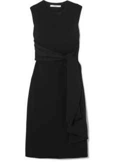 Givenchy Cutout Crepe-paneled Stretch-cady Midi Dress