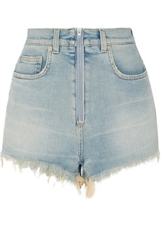 Givenchy Distressed Faded Stretch-denim Shorts