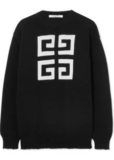Givenchy Distressed Intarsia Cotton Sweater