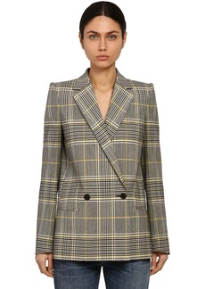 Givenchy Double Breasted Check Wool Blend Blazer