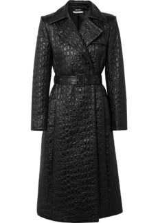 Givenchy Double-breasted Croc-effect Shell Trench Coat