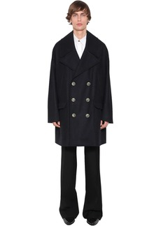 Givenchy Double Breasted Wool Coat W/lion Buttons