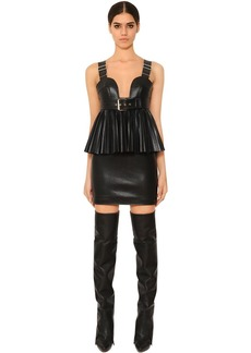 Givenchy Faux Leather Dress W/ Buckle Details