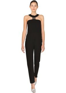 Givenchy Fitted Crepe Jumpsuit W/ Crystals Detail