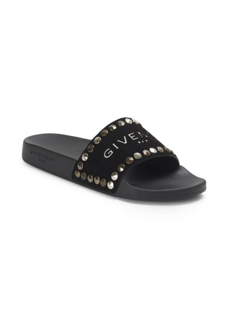 19313b75478 Givenchy Flat Pool Studded Leather Slide