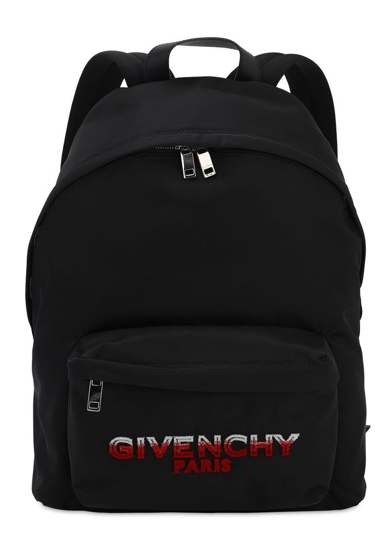 Givenchy Flocked Logo Nylon Backpack
