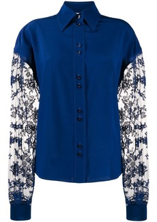 Givenchy floral lace long-sleeved blouse