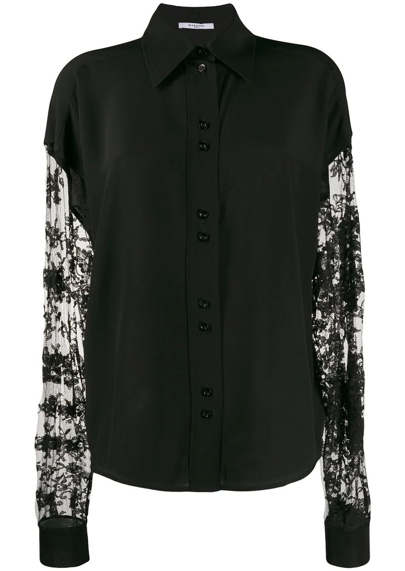 Givenchy floral lace sleeves button-up shirt