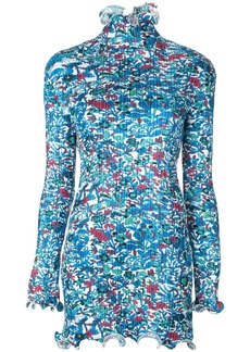 Givenchy floral print frilled ribbed top