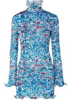 Givenchy Floral-print Plissé-satin Mini Dress