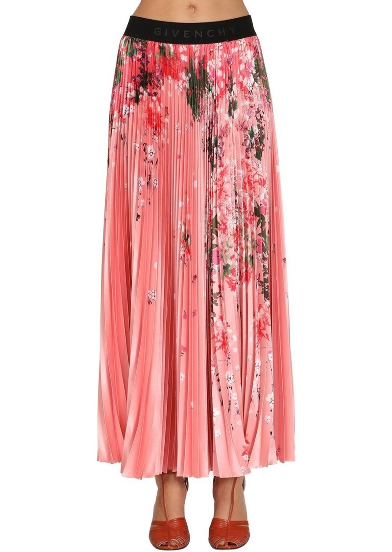 Givenchy Flower Print Pleated Satin Midi Skirt