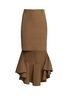 Givenchy Fluted-Back High-Low Cotton Skirt