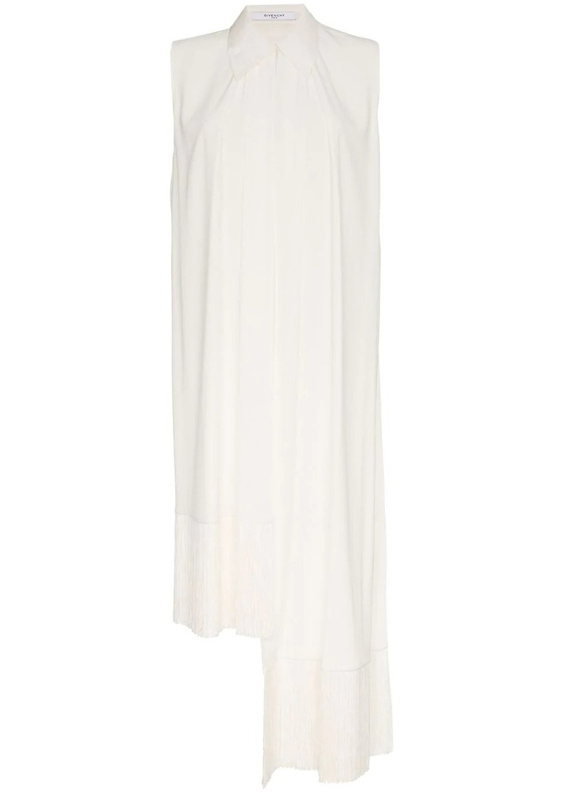 Givenchy Fringe-trimmed Silk-crepe Top