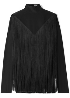 Givenchy Fringed Silk Crepe De Chine Turtleneck Blouse