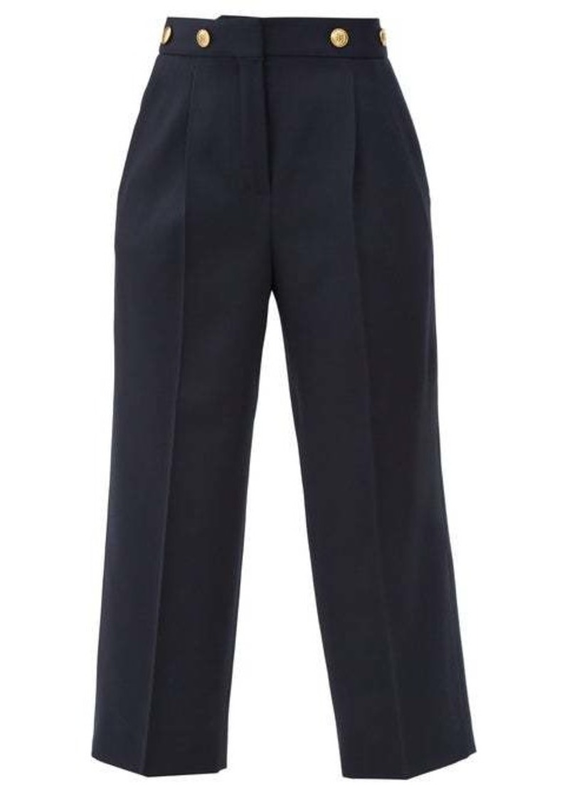 Givenchy 4G-buttons high-rise wool grain de poudre trousers