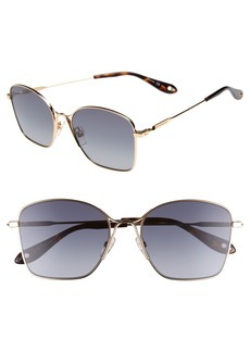 Givenchy 56mm Square Polarized Metal Sunglasses