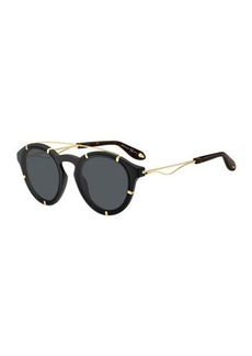 Givenchy Acetate & Metal Round Sunglasses