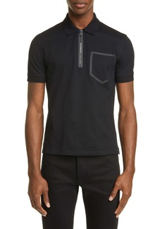 Givenchy Address Slim Fit Black Short Sleeve Zip Polo