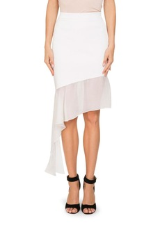 Givenchy Asymmetric Chiffon-Trim Skirt