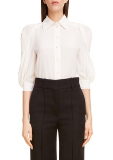 Givenchy Balloon Sleeve Silk Georgette Blouse