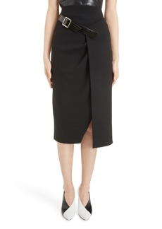 Givenchy Belt Detail Wool Wrap Skirt