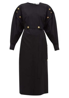 Givenchy Belted buttoned cotton-poplin midi dress