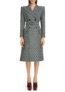 Givenchy Belted Herringbone Wool Blend Coat