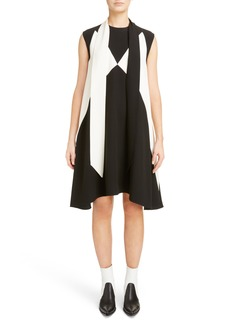 Givenchy Bicolor Satin-Back Crepe Scarf Collar Dress