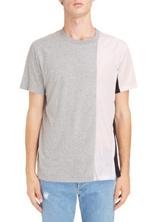 Givenchy Bimaterial Colorblock T-Shirt with Zip Detail