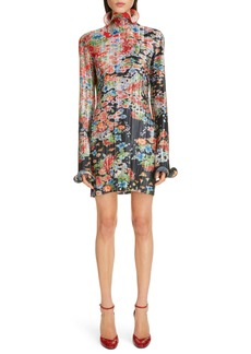 Givenchy Bloom Long Sleeve Plissé Minidress