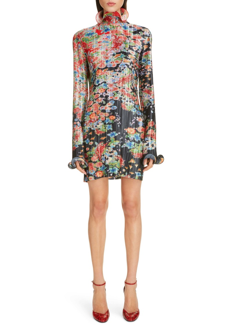 Givenchy Bloom Long Sleeve Plissé Minidress